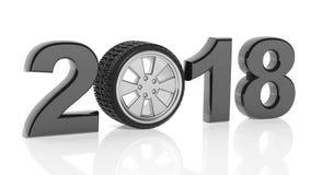 una rappresentazione 3D di 2018 con la ruota del ` s dell'automobile come zero illustrazione vettoriale