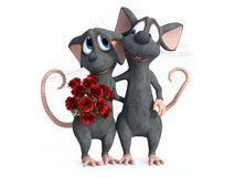 una rappresentazione 3D di una datazione di due topi del fumetto fotografia stock libera da diritti