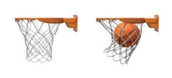 una rappresentazione 3d di due reti di pallacanestro con i cerchi arancio, una vuota ed una con una palla che cade dentro illustrazione vettoriale
