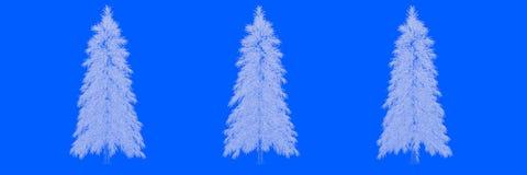 una rappresentazione 3d di tre alberi come linee su un fondo blu Immagine Stock Libera da Diritti