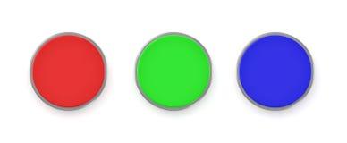 una rappresentazione 3d di tre pulsanti variopinti, di un rosso, blu e verde Immagini Stock