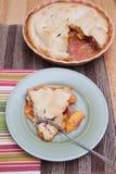 Una rebanada de empanada fresca del melocotón Foto de archivo libre de regalías