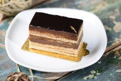 Una rebanada de torta de la ópera Imágenes de archivo libres de regalías