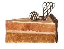 Una rebanada de torta de esponja del chocolate, ilustración del vector