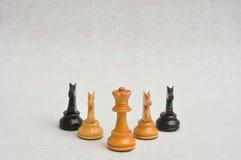 Una regina bianca con i quattro pezzi del cavaliere Fotografie Stock Libere da Diritti