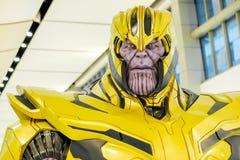 Una regolazione delle action figure di Thanos Portrait dai vendicatori si meraviglia comico fotografia stock