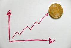 Una replica dorata del bitcoin su Libro Bianco scritto con il grafico rosso su e giù Concetto di finanza e di affari Fotografie Stock