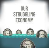 Una representación gráfica de la recesión stock de ilustración
