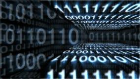 Una representación olográfica 3d de las cajas del código de programa que hacen girar alrededor en el fondo azul Sus áreas transpa libre illustration