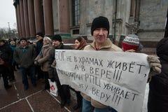 Una reunión de la protesta contra la transferencia del ` s Cathedr del St Isaac Imagen de archivo