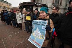 Una reunión de la protesta contra la transferencia del ` s Cathedr del St Isaac Fotografía de archivo