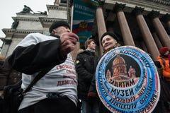 Una reunión de la protesta contra la transferencia del ` s Cathedr del St Isaac Imagen de archivo libre de regalías