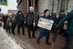 Una reunión de la protesta contra la transferencia del ` s Cathedr del St Isaac Fotos de archivo libres de regalías