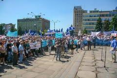 Una reunión de la protesta de trabajadores imagenes de archivo