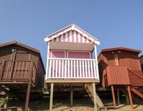 Una riga delle capanne della spiaggia Fotografia Stock Libera da Diritti