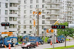 Una ripartizione di elettricità in città. Fotografie Stock Libere da Diritti