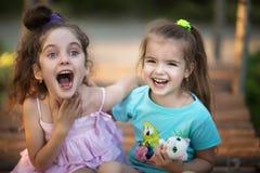 Una risata di due bambine Fotografia Stock