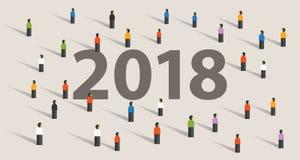 una risoluzione e un obiettivo da 2018 nuovi anni ammucchiano guardando insieme la visione Immagine Stock