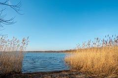 Una riva di un lago al crepuscolo immagine stock