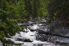 Una roccia compatta non può fermare un fiume scorrente fotografia stock