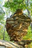 Una roccia d'equilibratura nella foresta Immagini Stock