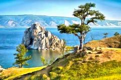 Una roccia nel lago Baikal e un albero che sta da solo sulla riva royalty illustrazione gratis