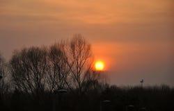 Una ronda de la puesta del sol en el ¼ olímpico ŒBeijing del parkï foto de archivo