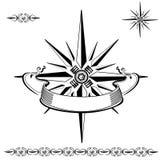 Una rosa dei venti con un nastro illustrazione vettoriale