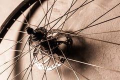 Una rueda en el fondo gris de la pared Imagenes de archivo