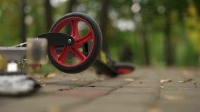 Una ruota del rotolo su cui la ruota sta filando lentamente Giorno nel parco, foglie giallo verde di autunno Movimento lento video d archivio