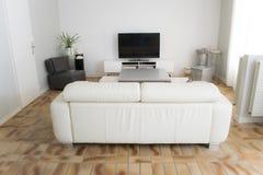 Una sala de estar con una televisión con sus muebles foto de archivo libre de regalías