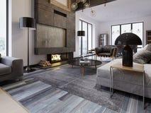Una sala de estar espaciosa grande en un estilo del desván, con una chimenea y muebles tapizados, ventanas panorámicas grandes y  ilustración del vector