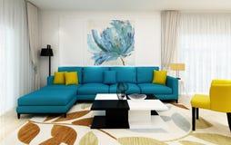 Una sala de estar, fondo del ejemplo 3D Imágenes de archivo libres de regalías