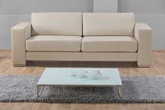 Una sala de estar minimalista moderna con el sofá de cuero Fotografía de archivo libre de regalías