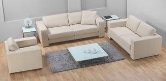 Una sala de estar minimalista moderna con el sofá de cuero Foto de archivo