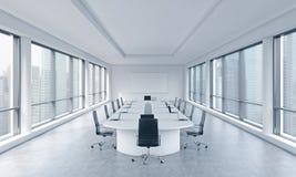 Una sala riunioni panoramica moderna luminosa in un ufficio moderno con la vista di Singapore Il concetto della riunione del cons illustrazione di stock