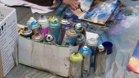 Una scatola di aerosol per il disegno per l'arte della via Immagini Stock