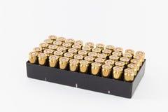 Una scatola di 45 cartucce di calibro Fotografia Stock Libera da Diritti