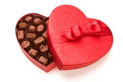 Una scatola di cioccolato del biglietto di S. Valentino Immagini Stock