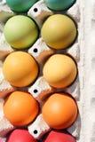 Una scatola di uova tinte fotografia stock