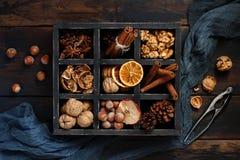 Una scatola in pieno delle spezie e dei dadi Fotografia Stock Libera da Diritti