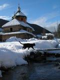 Una scena di inverno in montagne Immagini Stock Libere da Diritti