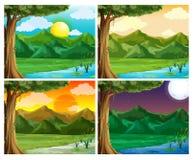 Una scena di quattro nature all'ora differente Fotografia Stock