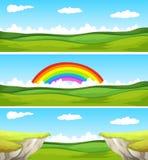 Una scena di tre nature con il campo e la scogliera Fotografia Stock Libera da Diritti