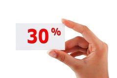una scheda di 30 per cento Fotografie Stock Libere da Diritti
