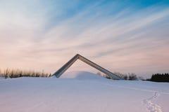 Una scultura nel parco di Sapporo nell'inverno Fotografie Stock
