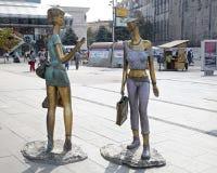 Una scultura Skopje di due ragazze Immagine Stock Libera da Diritti