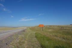Una señal de peligro para los motoristas en Dakota del Sur fotografía de archivo