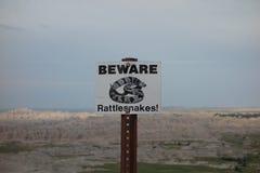 Una señal de peligro para los visitantes en Dakota del Sur fotografía de archivo