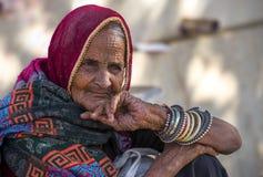 Una señora arrugada de la cara Imagen de archivo